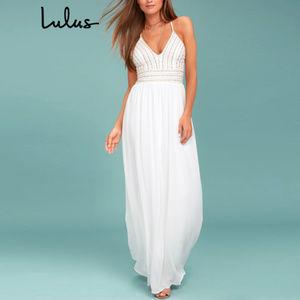 NWOT: Lulu's - Meet Me in Madrid Beaded Maxi Dress
